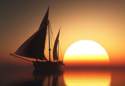 Fototapeta - Boat in Sunset 4034