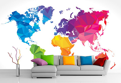 3d Tapeta Colourful World Map 1033