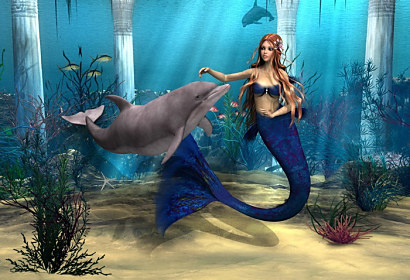 Fototapeta Mermaid and Dolphin ft-53234382
